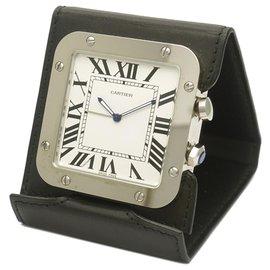 Cartier-Cartier Silver Santos de Cartier Travel Alarm Clock-Black,Silvery