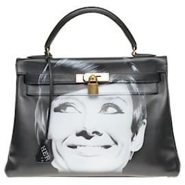 """Hermès-Kelly 32 retourné avec bandoulière en cuir box noir customisé """"Audrey Hepburn"""" # 60 par PatBo-Noir"""