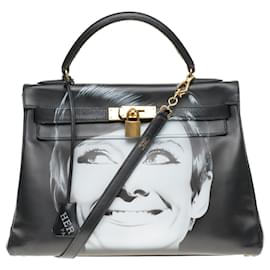 "Hermès-Kelly 32 returned with custom black box leather strap ""Audrey Hepburn"" # 60 by PatBo-Black"