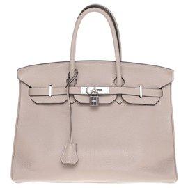 Hermès-Superbe sac  à main Hermès Birkin 35 en cuir Togo étoupe, garniture en métal argent palladié en très bon état !-Gris