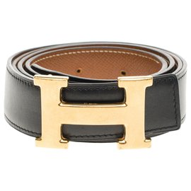 Hermès-Hermès Reverse belt in black box leather and gold courchevel, gold plated metal buckle, taille 105-Black,Golden