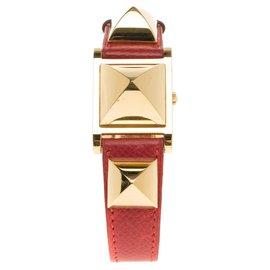 Hermès-Montre Hermes Médor - Wristwatch en plaqué or Ref : ME1.201-Rouge