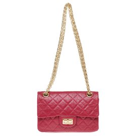 Chanel-Mini Chanel bag 2.55 Reissue in red quilted leather, Golden Jewelery, exceptional condition!-Red