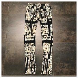 Balmain-Un pantalon, leggings-Noir,Blanc cassé
