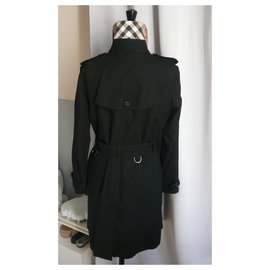 Burberry-BURBERRY - Black Cotton Trench Classic Recent T40-Black