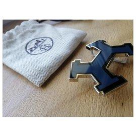 Hermès-Hermès fivela de cinto modelo de rua-Preto,Azul