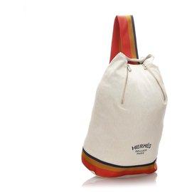 Hermès-Hermes White Cavalier Cotton Sling Backpack-White,Multiple colors,Cream