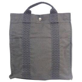 Hermès-Hermes Gray Herline Canvas Backpack MM-Other,Grey