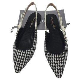 Dior-Dior, Ballerine DIOR J'ADIOR en laine pied de poule, ruban brodé-Noir,Blanc