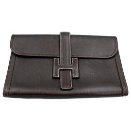 Hermès-Hermes vintage Jige clutch in brown grained leather.-Brown