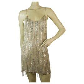 Badgley Mischka-Badgley Mischka Nude Silk Fully Beaded Sequins Spaghetti Straps Mini Dress sz 8-Beige