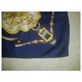 Hermès-Hermes Royal Mews Buckingham Palace scarf-Dark blue