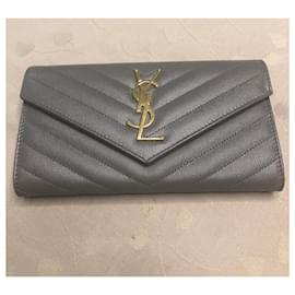 Saint Laurent-Monogram wallet-Grey