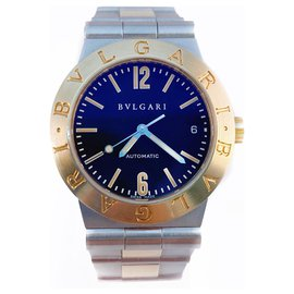 Bulgari-Bvlgari Diagono LC 35 SG Automatic 35mm 18K Yellow Solid Gold and Stainless Steel Date-Silvery