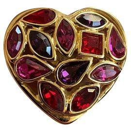 Yves Saint Laurent-Vintage YSL heart pins-Multiple colors