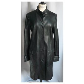 Burberry-BURBERRY Leather coat in new lambskin condition T16 UK-Black