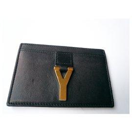 Saint Laurent-SAINT LAURENT Card holder black leather Jewel golden brass Y-Black