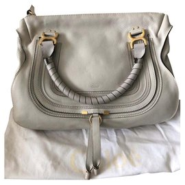 Chloé-Marcie lined carried bag in grained calf leather-Grey