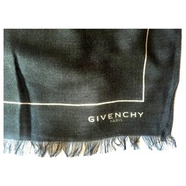 Givenchy-GIVENCHY Cashmere and Modal scarf-Black,White