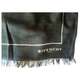 Givenchy-GIVENCHY Lenço de caxemira e modal-Preto,Branco