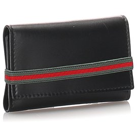 Gucci-Gucci Black Leather Web Key Holder-Black,Red