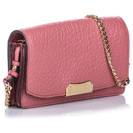 Burberry-Burberry Pink Madison Leather Wallet on Chain-Pink