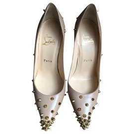 Christian Louboutin-Pigalle with spikes-Beige