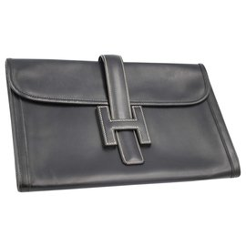 Hermès-Hermès Jige clutch in black leather-Black