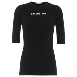 Balenciaga-new athletic logo top-Black