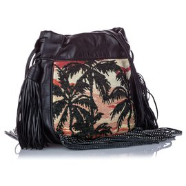 Yves Saint Laurent-YSL Black Printed Canvas Helena Fringe Crossbody Bag-Black,Multiple colors