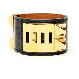 Hermès-CDC MEDOR BLACK ALLIGATOR GOLDEN HDW-Noir,Doré