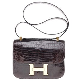 Hermès-Sublime Hermès Constance in brown porosus crocodile, gold-plated metal trim in very good condition!-Brown