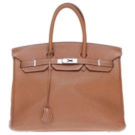 Hermès-Sac à main Hermès Birkin 35 en Togo camel, garniture en métal plaqué or en bon état !-Doré