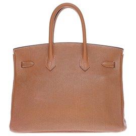 Hermès-Hermes Birkin handbag 35 in Togo camel, gold-plated metal trim in good condition!-Golden