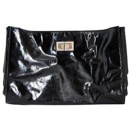 Chanel-PATENT BLACK 255 BAG CLUTCH-Noir