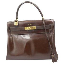 Hermès-Sac à main Hermes Kelly vintage 28 en cuir marron-Marron
