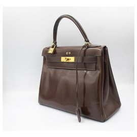 Hermès-Hermes Kelly vintage handBag 28 in brown leather-Brown