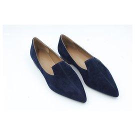 Hermès-Mocassin Hermès parfait en cuir velours bleu foncé _ taille 35-Bleu,Bleu Marine,Bleu foncé
