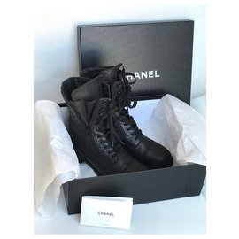 Chanel-Black Combat lace-up Boots w/box-Black