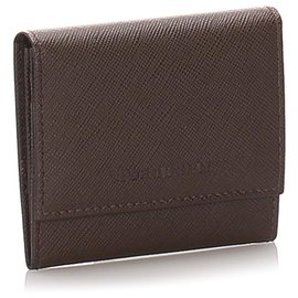 Burberry-Burberry Brown Leather Card Holder-Brown,Dark brown