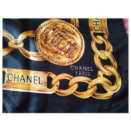 Chanel-Silk scarves-Dark blue
