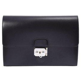 Hermès-Hermès Leather clutch Bag-Black