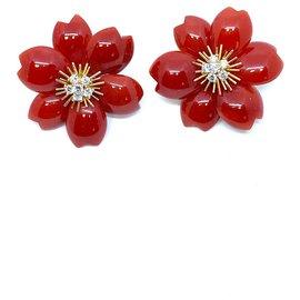 Van Cleef & Arpels-Boucles d'oreilles Van Cleef & Arpels Rose de Noel Corail Diamant Super rare et magnifique-Corail
