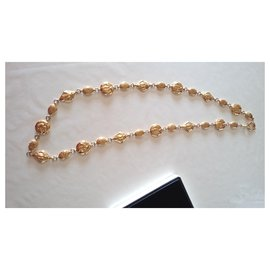 Chanel-Chanel long necklace and belt.-Golden