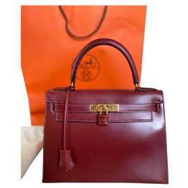 Hermès-Hermès Kelly II Sellier bag 28 Leather box-Dark red