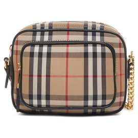 Burberry-BURBERRY Shoulder bag in cotton canvas with Vintage Check pattern and zippered front pocket.-Brown