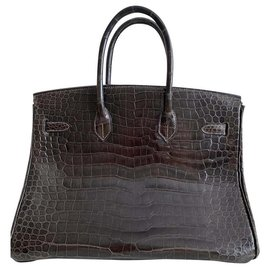 Hermès-Birkin 35 Crocodile Porosus Lisse-Brown