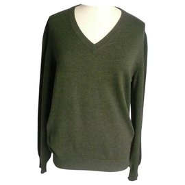 Hermès-HERMES V-neck sweater forest green NEW NEVER MEN'S Wearing TS-Dark green