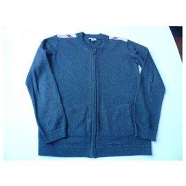 Burberry-BURBERRY Zipped anthracite cardigan 14 ans-Dark grey