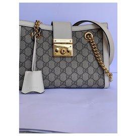 Gucci-Petit sac à bandoulière Padlock GG-Ébène,Marron clair